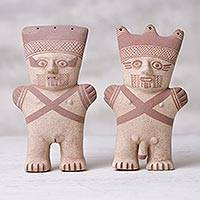 Ceramic sculptures, 'Divine Duality' (pair) - Two Handcrafted Ceramic Nude Sculptures from Peru