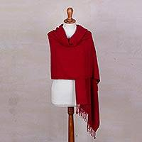 Baby alpaca blend shawl, 'Enrapturing Crimson' - Handwoven Baby Alpaca Blend Shawl in Crimson from Peru