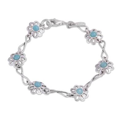 Floral Amazonite and Silver Link Bracelet from Peru