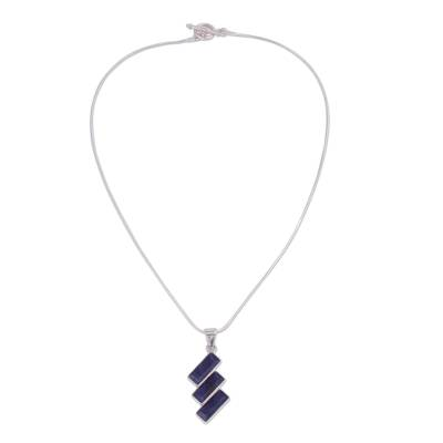Artisan Crafted Modern Sodalite Necklace in Andean Silver