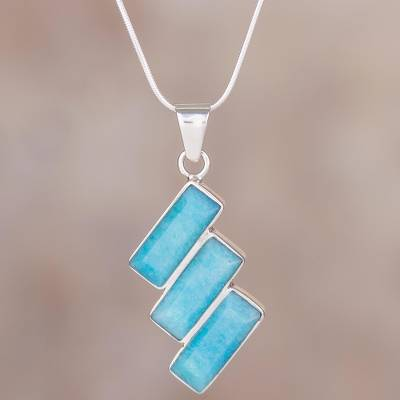 Amazonite pendant necklace, 'Distinguished Diagonals' - Fair Trade Modern Amazonite Necklace in Andean 925 Silver