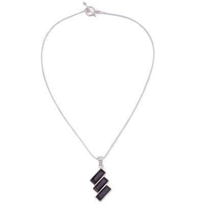 Black Obsidian Necklace Handcrafted of Andean 925 Silver