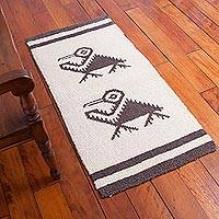 Wool area rug, 'Pelican Habitat' (2x4) - Hand Knotted Wool Area Rug with Pelican Motif (2x4)