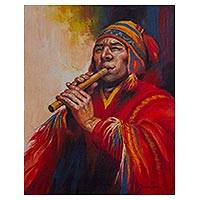 'Musician of the Andes' - Original Oil Portrait Painting of a Man Playing Quena Flute