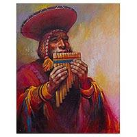 'Melodies of the Panpipes' - Original Oil Painting of an Andean Musician from Pisac
