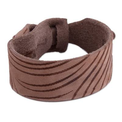 Handcrafted Leather Wristband Bracelet in Light Brown