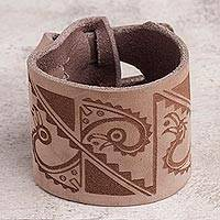 Leather wristband bracelet, 'Moche Legacy' - Leather Wristband Bracelet with Ancient Peruvian Symbols