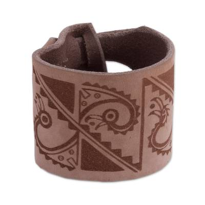 Leather Wristband Bracelet with Ancient Peruvian Symbols