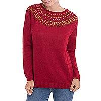 100% baby alpaca sweater, 'Candy Apple Luxury' - Knit Red Baby Alpaca Pullover Sweater from Peru