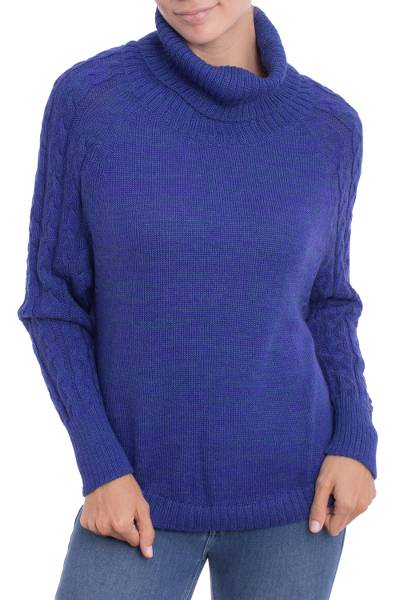100% baby alpaca sweater, Holiday Warmth in Blue