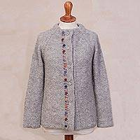 Alpaca blend sweater jacket, 'Morning Muse in Grey' - Grey Alpaca Blend Sweater Jacket from Peru