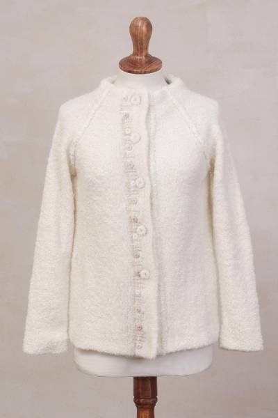 Alpaca blend sweater jacket, Morning Muse in Off White