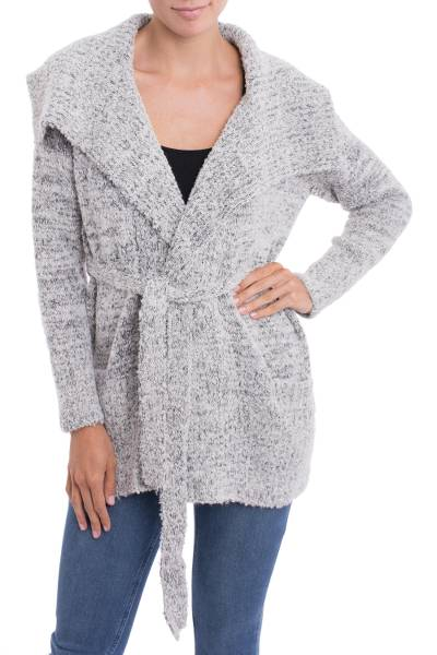Alpaca blend sweater jacket, 'Saturday Morning in Grey' - Grey Alpaca Blend Belted Sweater Jacket from Peru