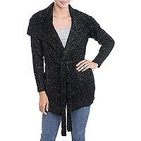 Alpaca blend sweater, 'Saturday Morning in Black' - Black Alpaca Blend Belted Sweater Jacket from Peru