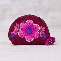 Wool coin purse, 'Flower of the Canyon' - Cerise Loom Woven Wool Coin Purse with Embroidered Flower