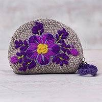 Wool coin purse, 'Flower of the Ravine' - Grey Loom Woven Wool Coin Purse with Embroidered Flowers