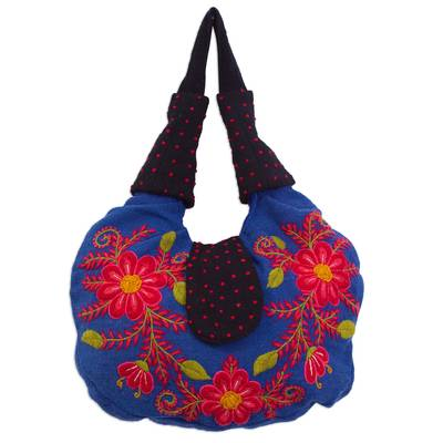 Blue Loom Woven Wool Shoulder Bag with Embroidered Flowers