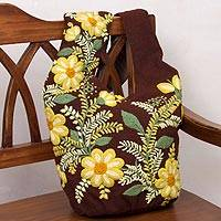 Wool sling bag, 'Andean Valley Flowers' - Brown Loom Woven Wool Sling Bag with Embroidered Flowers