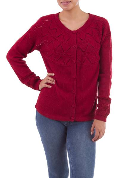 100% baby alpaca sweater, Sweet Mystique in Crimson