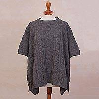 Alpaca blend poncho, 'Colonial Charm in Deep Grey' - Cable Knit Alpaca Blend Poncho in Deep Grey from Peru