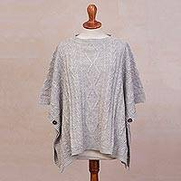 Alpaca blend poncho, 'Colonial Charm in Light Grey' - Peruvian Cable Knit Alpaca Blend Poncho in Light Grey
