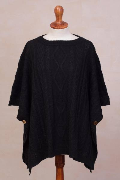 Alpaca blend poncho, 'Colonial Charm in Black' - Black Cable Knit Alpaca Blend Poncho from Peru
