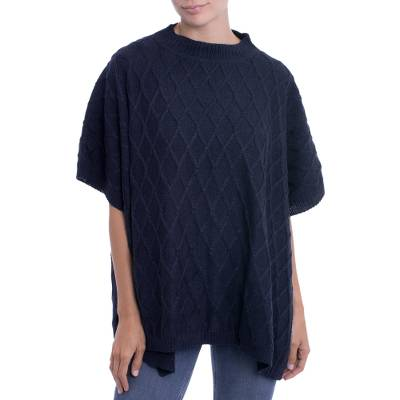 Alpaca blend poncho, 'Andean Romance in Navy Blue' - Peruvian Alpaca Blend Poncho with Rhombus Design in Black