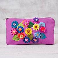 Cotton clutch purse, 'Spring's Arrival' - Hand Made Fuchsia Cotton Clutch Purse with Flower Appliques