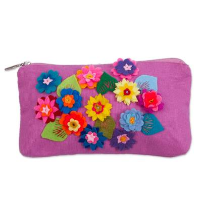 Hand Made Fuchsia Cotton Clutch Purse with Flower Appliques