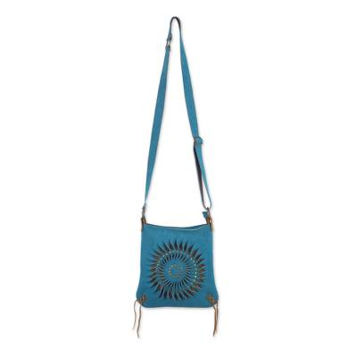 Handcrafted Suede Sling in Turquoise from Peru