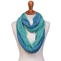 Alpaca blend infinity scarf, 'Oceanic Style' - Alpaca Blend Infinity Scarf in Mint and Cyan from Peru