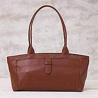 Leather baguette, 'Russet Style' - Handcrafted Russet Leather Baguette Handbag from Peru