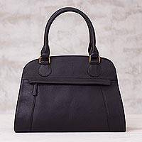 Leather handle handbag, 'Black Glamor' - Handcrafted Leather Handle Handbag in Black from Peru