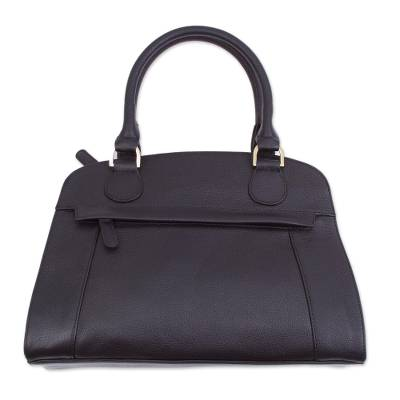 Handcrafted Leather Handle Handbag in Black from Peru