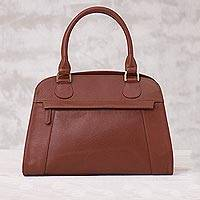 Leather handle handbag, 'Russet Glamor' - Handcrafted Leather Handle Handbag in Russet from Peru