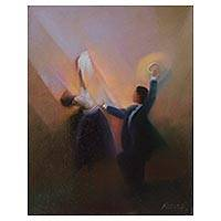 'Final Gesture' - Signed Expressionist Painting of a Dancing Pair from Peru