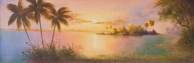 'Magic Amazon' - Signed Landscape Painting of a Jungle Sunset from Peru
