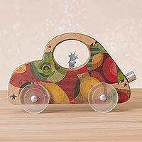 Wood sculpture, 'On the Road' - Handcrafted Wood Car Sculpture from Peru