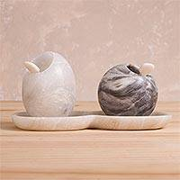 Huamanga stone salt and pepper set, 'Excited Chef' - Huamanga Stone Salt and Pepper Set from Peru