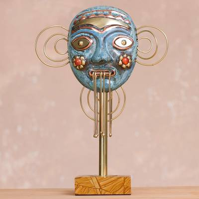 Copper and bronze mask, 'Greetings' - Oxidized Copper Decorative Mask with Flowers Statuette
