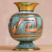 Copper and bronze decorative vase, 'Andean Glory' - Peruvian Artisan Crafted Copper and Bronze Decorative Vase