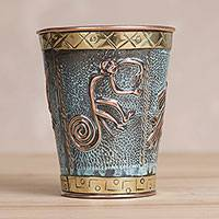 Small copper and bronze decorative vase, 'Nazca Mystique' - Petite Copper and Bronze Decorative Vase with Nazca Figures