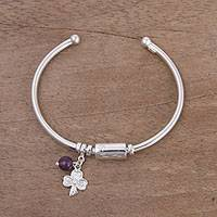Amethyst charm cuff bracelet, 'Fortune Smiles' - Sterling Silver Clover Charm and Amethyst Bead Cuff Bracelet