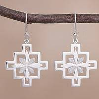Sterling silver dangle earrings, 'Dazzling Inca Cross' - Starburst Inca Cross Sterling Silver Dangle Earrings