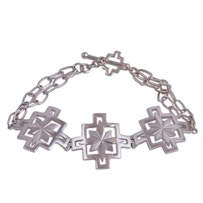 Fair Trade Sterling Silver Cross and Flower Pendant Bracelet