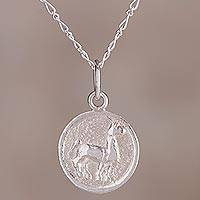 Sterling silver pendant necklace, 'Llama Life' - Sterling Silver Llama Pendant Necklace from Peru