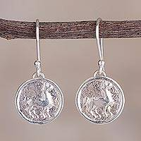 Sterling silver dangle earrings, 'Llama Life' - Llama Sterling Silver Dangle Earrings from Peru