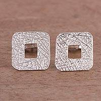 Sterling silver stud earrings, 'Charmed Roots' - Textured Square Sterling Silver Stud Earrings from Peru