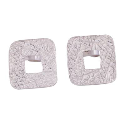 Textured Square Sterling Silver Stud Earrings from Peru