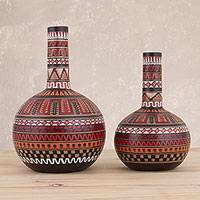 Ceramic decorative vases, 'Ceremonial Rites' (pair) - Two Handcrafted Ceramic Decorative Vases from Peru
